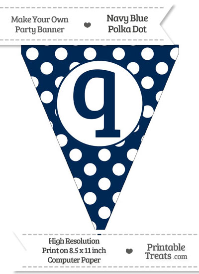 Navy Blue Polka Dot Pennant Flag Lowercase Letter Q from PrintableTreats.com