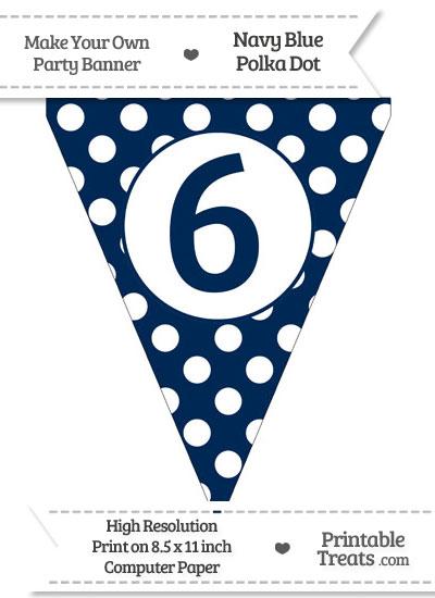 Navy Blue Polka Dot Pennant Flag Number 6 from PrintableTreats.com