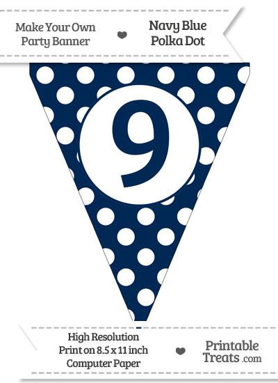 Navy Blue Polka Dot Pennant Flag Number 9 from PrintableTreats.com