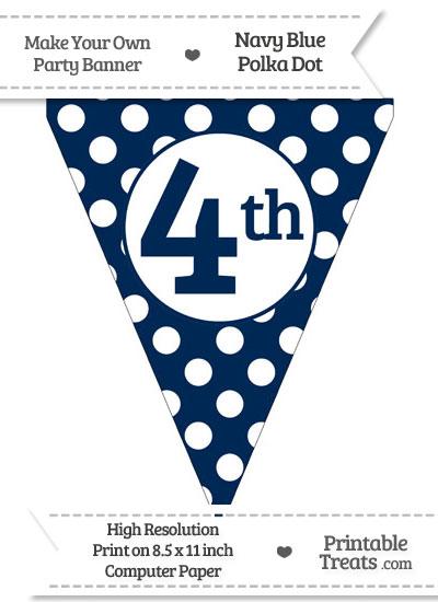 Navy Blue Polka Dot Pennant Flag Ordinal Number 4th from PrintableTreats.com