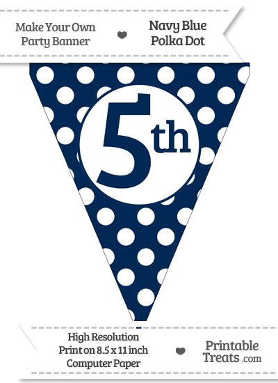 Navy Blue Polka Dot Pennant Flag Ordinal Number 5th from PrintableTreats.com