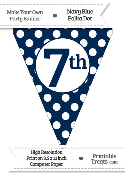 Navy Blue Polka Dot Pennant Flag Ordinal Number 7th from PrintableTreats.com