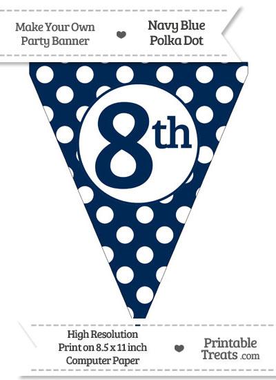 Navy Blue Polka Dot Pennant Flag Ordinal Number 8th from PrintableTreats.com