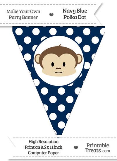 Navy Blue Polka Dot Pennant Flag with Boy Monkey from PrintableTreats.com
