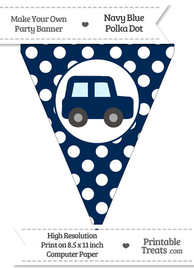 Navy Blue Polka Dot Pennant Flag with Car Facing Right from PrintableTreats.com