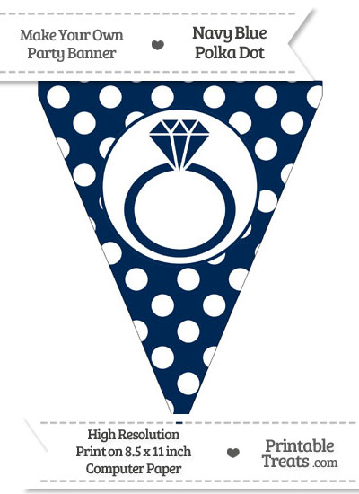 Navy Blue Polka Dot Pennant Flag with Engagement Ring from PrintableTreats.com