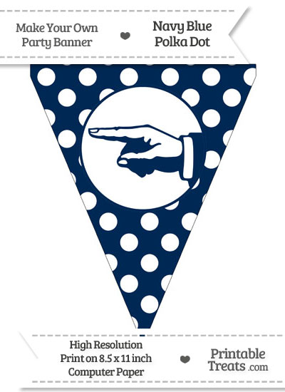 Navy Blue Polka Dot Pennant Flag with Hand Pointing Left from PrintableTreats.com