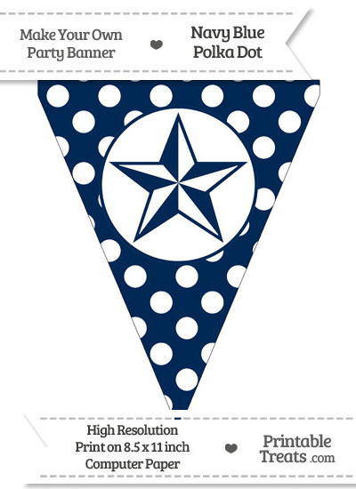 Navy Blue Polka Dot Pennant Flag with Nautical Star from PrintableTreats.com