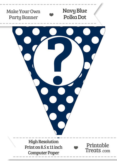 Navy Blue Polka Dot Pennant Flag with Question Mark from PrintableTreats.com