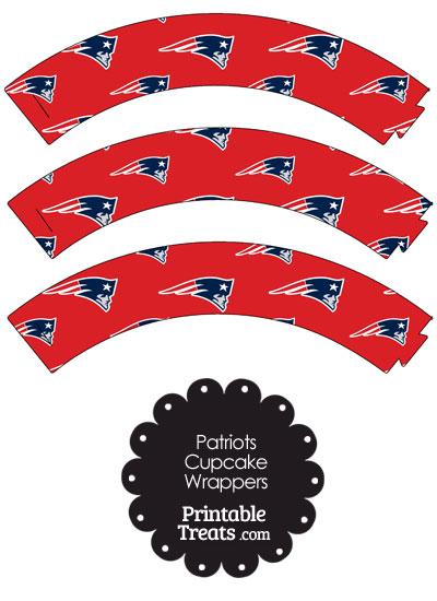 New England Patriots Logo Cupcake Wrappers from PrintableTreats.com