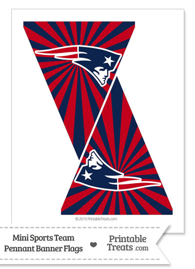 New England Patriots Mini Pennant Banner Flags from PrintableTreats.com