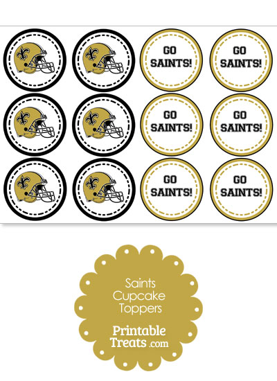 New Orleans Saints Cupcake Toppers from PrintableTreats.com