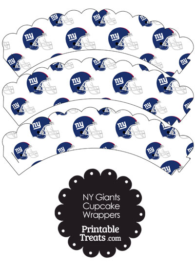 New York Giants Football Helmet Scalloped Cupcake Wrappers from PrintableTreats.com