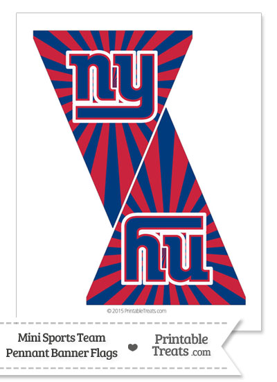 New York Giants Mini Pennant Banner Flags from PrintableTreats.com