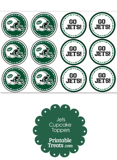 New York Jets Cupcake Toppers from PrintableTreats.com