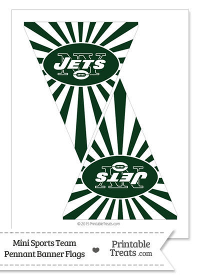 New York Jets Mini Pennant Banner Flags from PrintableTreats.com