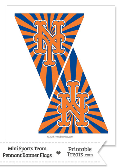 New York Mets Mini Pennant Banner Flags from PrintableTreats.com