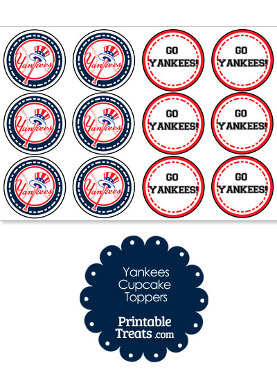 New York Yankees Cupcake Toppers from PrintableTreats.com