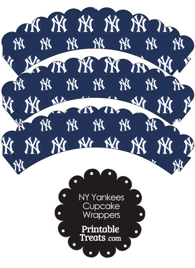 New York Yankees Logo Scalloped Cupcake Wrappers from PrintableTreats.com