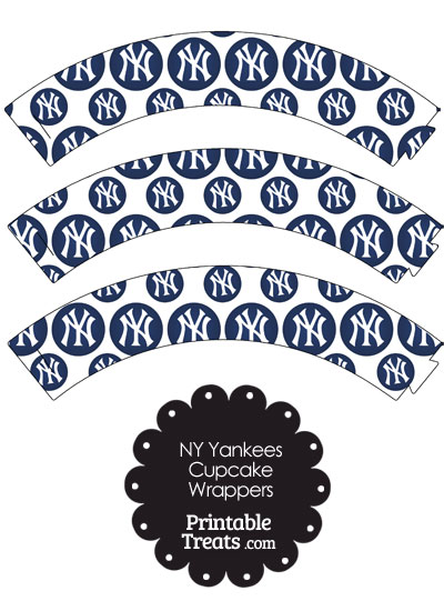 New York Yankees Logo with White Background Cupcake Wrappers from PrintableTreats.com