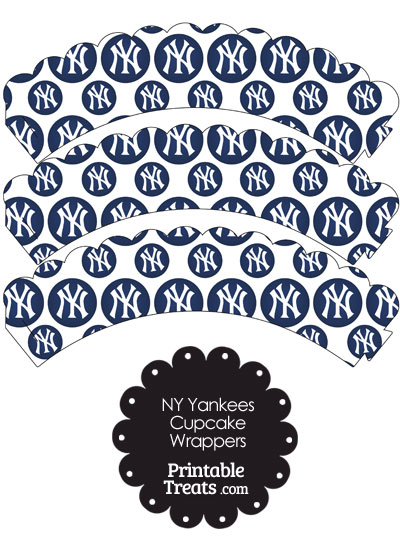 New York Yankees Logo with White Background Scalloped Cupcake Wrappers from PrintableTreats.com