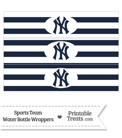 New York Yankees Water Bottle Wrappers from PrintableTreats.com