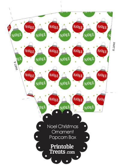 Noel Christmas Ornament Popcorn Box from PrintableTreats.com
