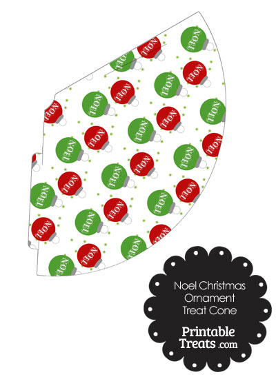 Noel Christmas Ornament Printable Treat Cone from PrintableTreats.com