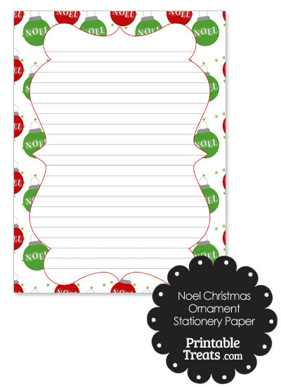 Noel Christmas Ornament Stationery Paper from PrintableTreats.com