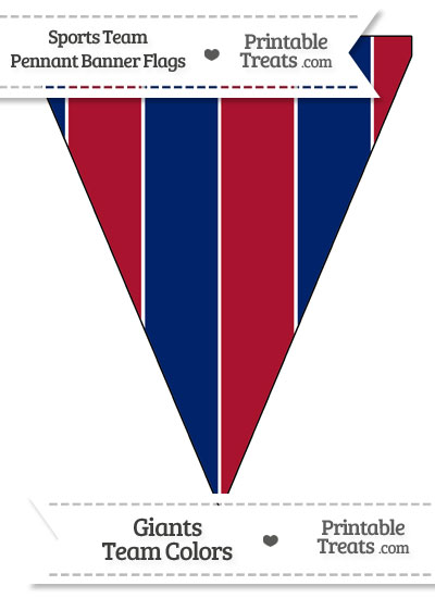 NY Giants Colors Pennant Banner Flag from PrintableTreats.com