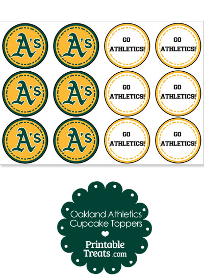 Oakland Athletics Cupcake Toppers from PrintableTreats.com