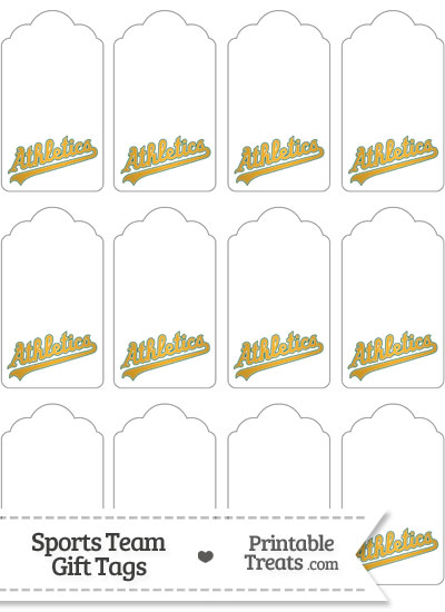 Oakland Athletics Gift Tags from PrintableTreats.com