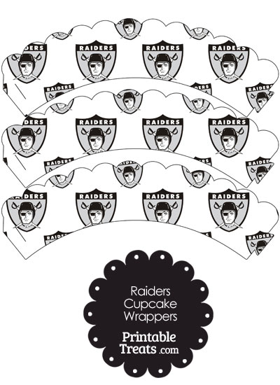 Oakland Raiders Logo Scalloped Cupcake Wrappers from PrintableTreats.com