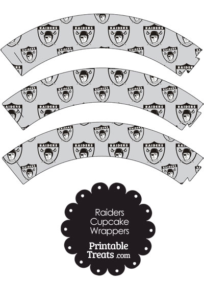 Oakland Raiders Logo with Grey Background Cupcake Wrappers from PrintableTreats.com
