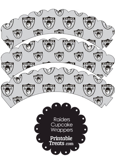 Oakland Raiders Logo with Grey Background Scalloped Cupcake Wrappers from PrintableTreats.com
