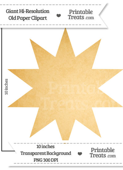 Old Paper Giant 10 Point Star Clipart from PrintableTreats.com