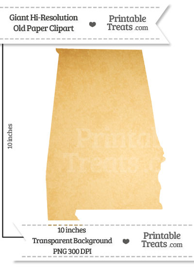 Old Paper Giant Alabama State Clipart from PrintableTreats.com