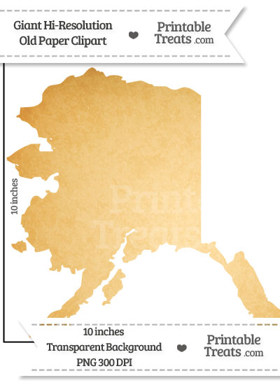 Old Paper Giant Alaska State Clipart from PrintableTreats.com