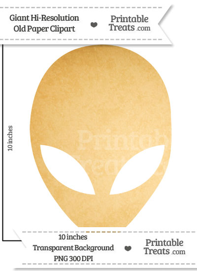 Old Paper Giant Alien Head Clipart from PrintableTreats.com