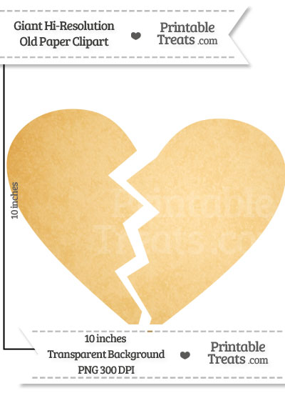 Old Paper Giant Broken Heart Clipart from PrintableTreats.com