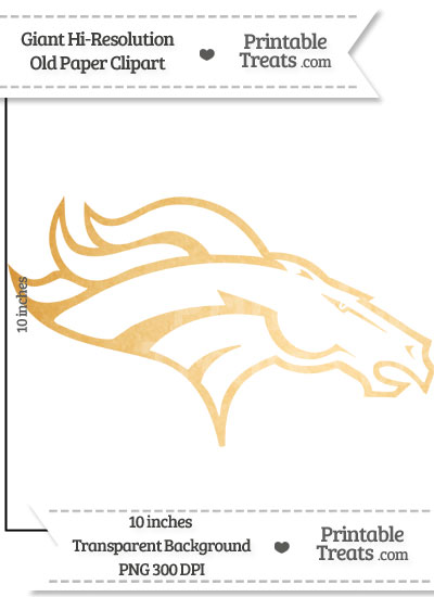 Old Paper Giant Broncos Logo Clipart from PrintableTreats.com