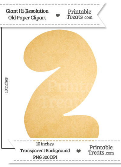 Old Paper Giant Bubble Number 2 Clipart from PrintableTreats.com