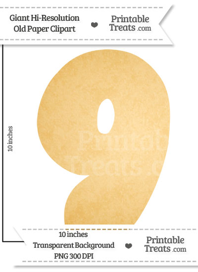 Old Paper Giant Bubble Number 9 Clipart from PrintableTreats.com