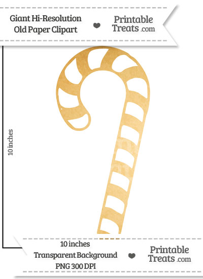 Old Paper Giant Candy Cane Clipart from PrintableTreats.com