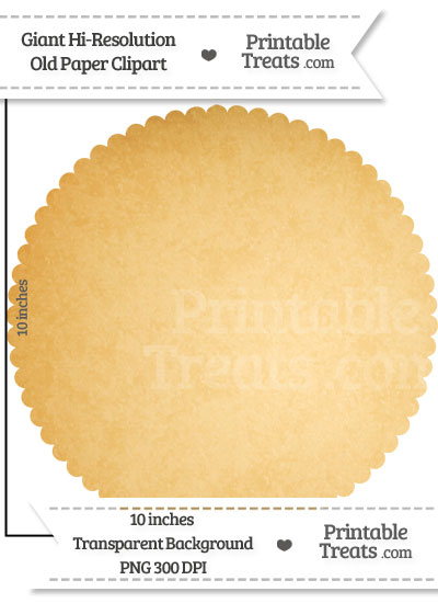 Old Paper Giant Circle with Scalloped Edges Clipart from PrintableTreats.com
