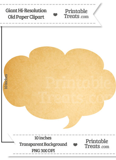 Old Paper Giant Cloud Talk Bubble Clipart from PrintableTreats.com