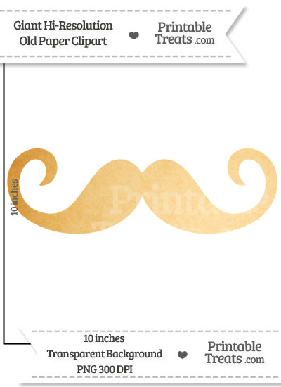 Old Paper Giant Curly Moustache Clipart from PrintableTreats.com