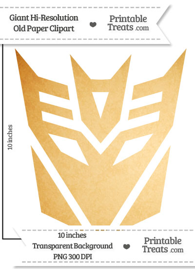 Old Paper Giant Decepticon Symbol Clipart from PrintableTreats.com