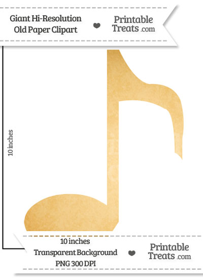Old Paper Giant Eighth Note Clipart from PrintableTreats.com
