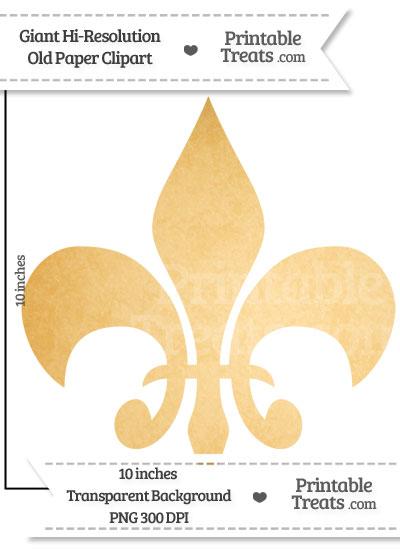 Old Paper Giant Fleur de Lis Clipart from PrintableTreats.com